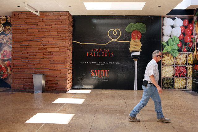 Signage is shown near construction for Salute at Red Rock hotel-casino Wednesday, June 3, 2015, in Las Vegas. The new Italian restaurant, built by Clique Hospitality, is slated to open this fall.  ...