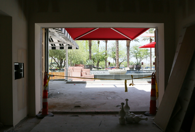 An openening in the wall is shown where a future window will be in a private dining area for Salute at Red Rock hotel-casino Wednesday, June 3, 2015, in Las Vegas. The new Italian restaurant, buil ...