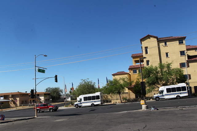 A person in a wheelchair was struck by a vehicle in the 1200 block of Stewart Avenue in downtown Las Vegas Wednesday morning, June 17, 2015. (Chase Stevens/Las Vegas Review-Journal)