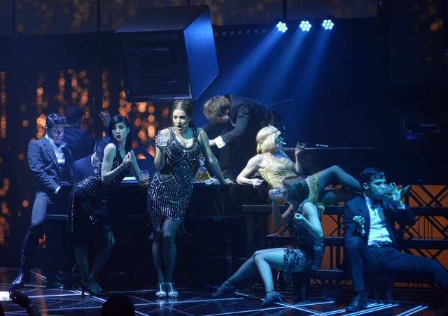 "An 11-piece ensemble weaves together three stories in ""Baz"" at Light nightclub in Mandalay Bay. (Bill Hughes/Las Vegas Review-Journal)"