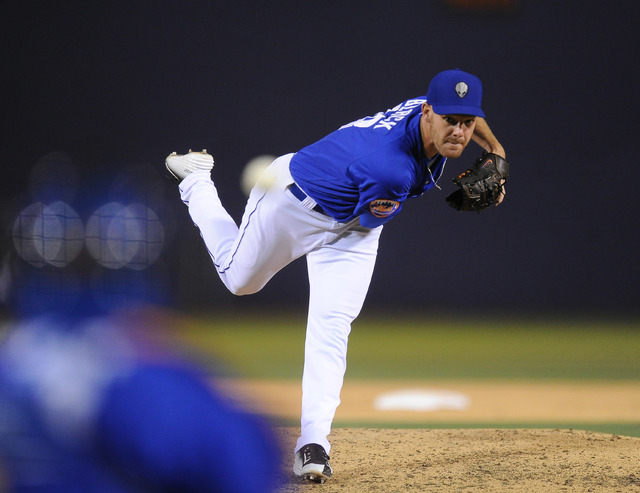 Las Vegas 51s pitcher Vic Black delivers to the Sacramento River Cats in the sixth inning of their Triple-A minor league baseball game at Cashman Field Saturday June 27, 2015. Las Vegas won 7-1.(J ...