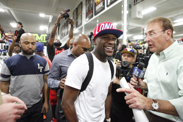 Floyd Mayweather meets with the press at the Floyd Mayweather Boxing Club on Wednesday, June 17, 2015, in Las Vegas. Shawn Porter and Adrien Broner will fight this Saturday at the MGM. (James Tens ...