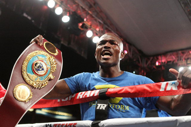 Timothy Bradley Jr. celebrates his win against Jessie Vargas in their World Boxing Organization welterweight championship title match at StubHub Center in Carson, Calif., on Saturday, June 27, 201 ...