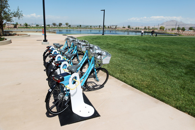 Bicycles are available for use in the Cadence master-planned community in Henderson Tuesday, May `19, 2015. (Sam Morris/Las Vegas Review-Journal) Follow Sam Morris on Twitter @sammorrisRJ