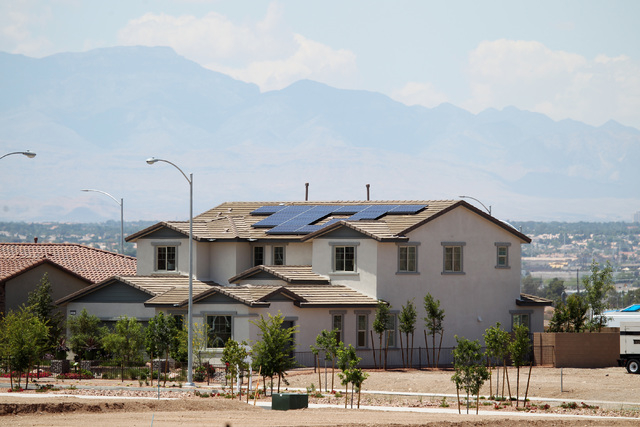 Solar panels are seen on a model home in the Cadence master-planned community in Henderson Tuesday, May `19, 2015. (Sam Morris/Las Vegas Review-Journal) Follow Sam Morris on Twitter @sammorrisRJ