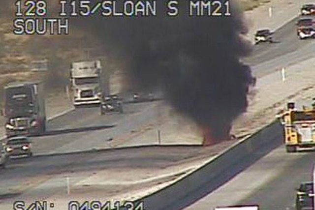 A car fire has been reported on northbound Interstate 15 near Sloan Friday, July 19, 2015. (Courtesy/RTC FAST Cameras)