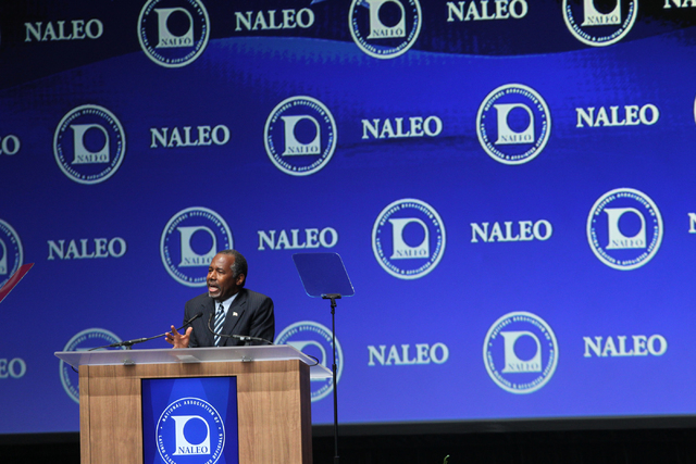 Republican presidential candidate Dr. Ben Carson, a neurosurgeon who is seeking the Republican nomination, speaks during the National Association of Latino Elected and Appointed Officials (NALEO)  ...