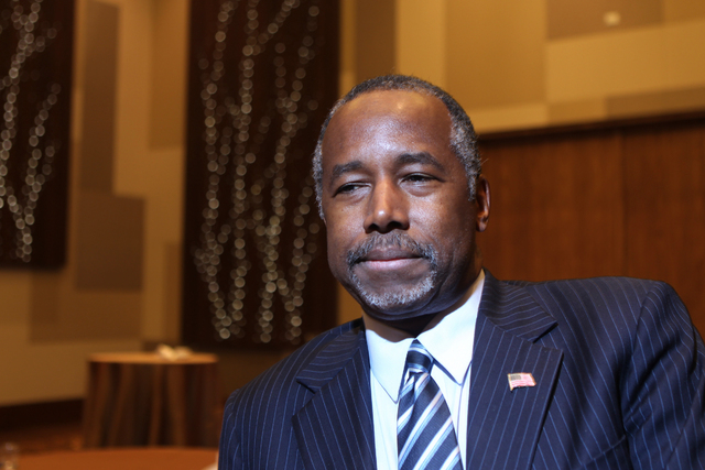 Republican presidential candidate Dr. Ben Carson, a neurosurgeon who is seeking the Republican nomination, is interviewed during the National Association of Latino Elected and Appointed Officials  ...