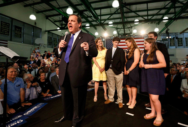 Republican U.S. presidential candidate and New Jersey Gov. Chris Christie formally announces his campaign for the 2016 Republican presidential nomination as his wife, Mary Pat, left, son Patrick,  ...