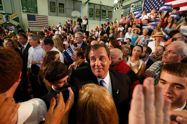 Republican U.S. presidential candidate and New Jersey Gov. Chris Christie shakes hands with supporters after formally announcing his campaign for the 2016 Republican presidential nomination during ...