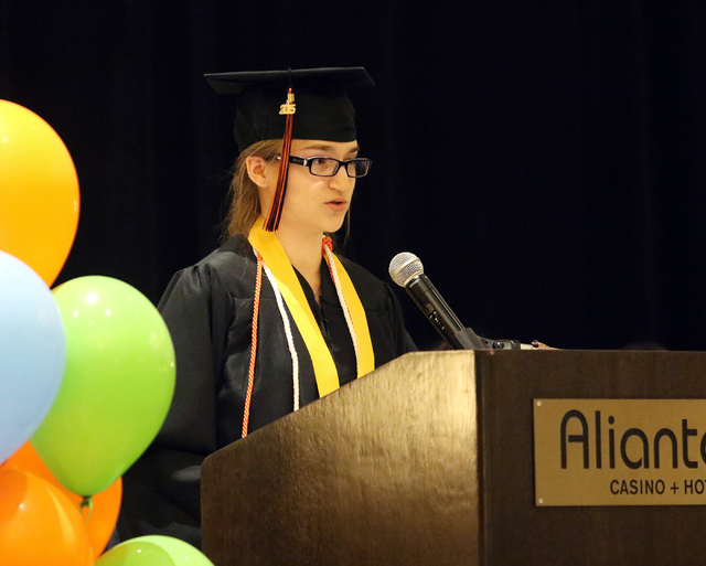 Nevada Virtual Academy high school valedictorian Alexandra Newsom speaks about learning at an online institution as opposed to a brick and mortar school during the class of 2015 commencement cerem ...