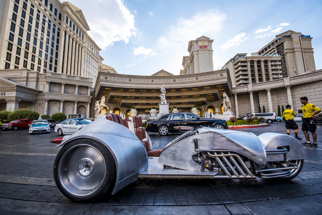 The Rivet motorcycle, designed by William Shatner, sits in the valet at Caesars Palace in Las Vegas on Monday, June 29, 2015. (Joshua Dahl/Las Vegas Review-Journal)