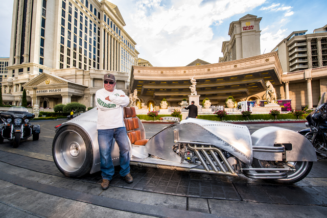 William Shatner leans against the Rivet motorcycle, which Shatner designed, at Caesars Palace on Monday, June 29, 2015. (Joshua Dahl/Las Vegas Review-Journal)