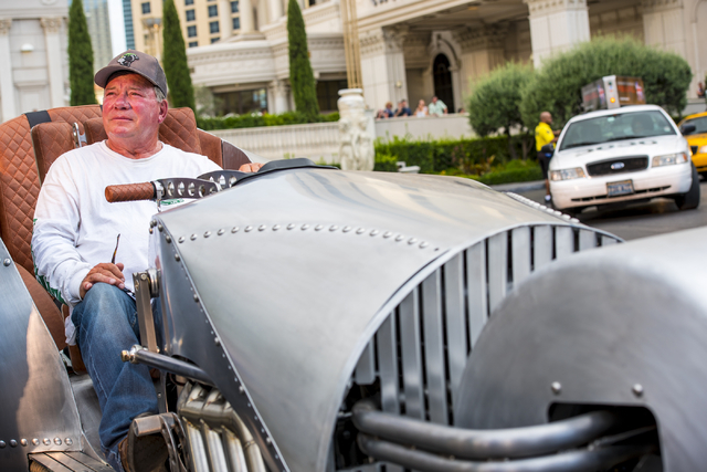 William Shatner sits in the Rivet motorcycle, which Shatner designed, at Caesars Palace on Monday, June 29, 2015. (Joshua Dahl/Las Vegas Review-Journal)
