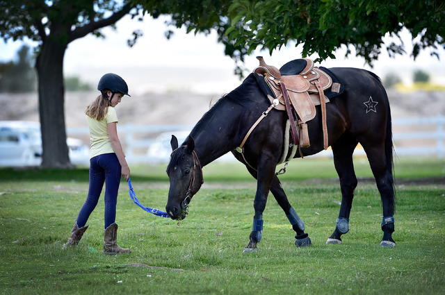 Sayde Pianko lets her horse graze as she leads him across the lawn at Floyd Lamb Park at Tule Springs on Friday, June 5, 2015. The 680-acre park in the northwest valley, features wildlife, lush ve ...