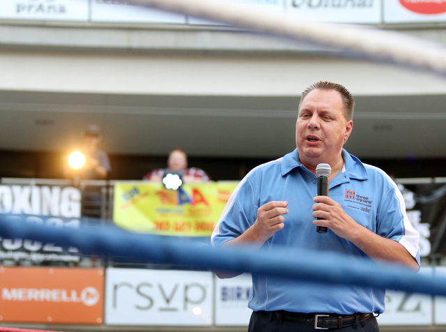 Dan Williams, chief operating officer of Three Square, speaks at the start of the Downtown Throwdown event at Zappos headquarters Tuesday, June 9, 2015, in Las Vegas. Bouts included matchups of lo ...