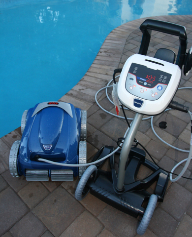 Courtesy of Paragon Pools Robotic cleaners that operate independently from the pool equipment are an option for removing debris from pools.
