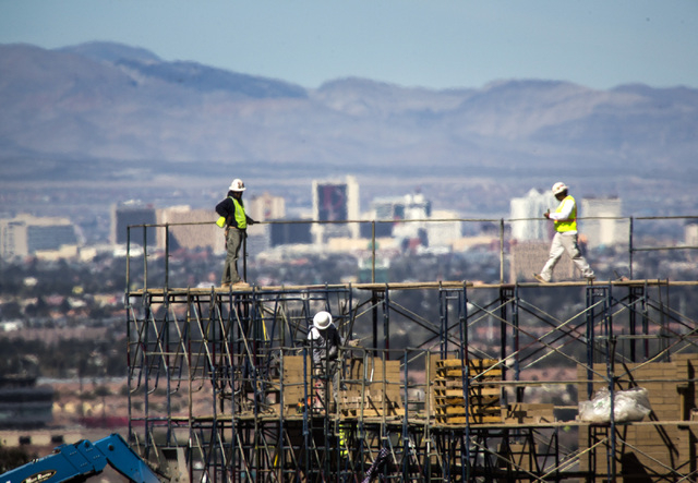 Construction on a future office building at Cadence master planned community  east of Henderson as as seen Friday. March 7,2014. The building will be 15,000 square feet. (Jeff Scheid/Las Vegas Rev ...