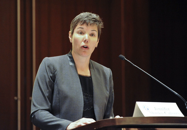 Jennifer Shasky Calvery, of the U.S. Treasury Department, speaks at the general session of the Bank Secrecy Act Conference in the Red Rock Resort hotel-casino in Las Vegas, Thursday, June 12, 2014 ...
