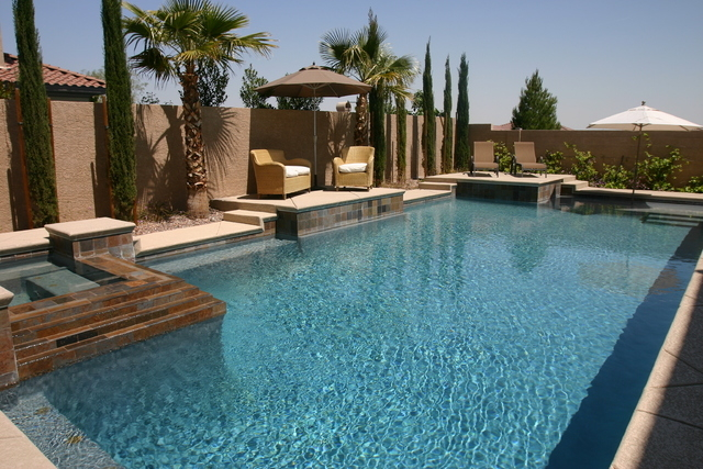 Courtesy of Paragon Pools Regular pool maintenance will ensure crystal clear water.