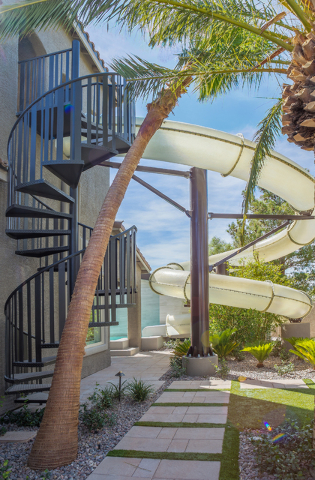 """Courtesy photo HGTV stars Jonathan and Drew Scott, of """"Property Brothers"""" fame, obtained a special county permit to build an 18-foot, commercial-scale water slide at their personal home in Spr ..."""