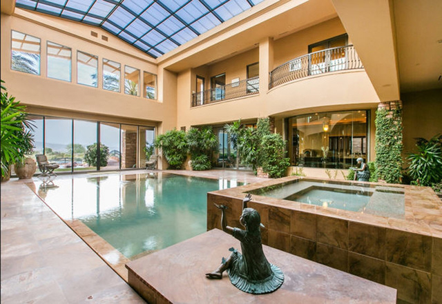 Mansion with indoor pool waterslide  Las Vegas luxury homes not complete without elaborate pools — PHOTOS ...