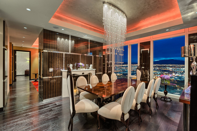 Courtesy photo Steve Mason and Angeles Scorsetti listed their furnished Mandarin Oriental's 41st floor penthouse for $3.1 million through Luxe Estates & Lifestyles. This is the master bath.
