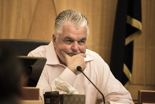 Clark County Commissioner Steve Sisolak is seen during hearing discussing the county budget on Monday, May 18, 2015 at the County Commission chambers. (Jeff Scheid/Las Vegas Review-Journal File) F ...