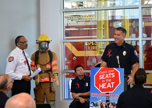 Henderson and Las Vegas firefighters launched the fifth annual Check Your Seats in the Heat Because Heat Kills outreach campaign June 10 at Las Vegas Fire & Rescue Station 6, 1680 S. Torrey Pines  ...