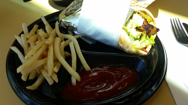 A chicken pita with a side of french fries is shown at Crazy Pita at Downtown Summerlin, 10975 Sage Park Drive, No. 100. (Lisa Valentine/View)