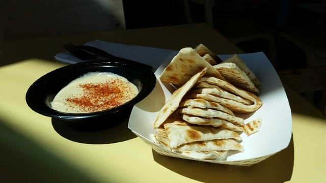 A regular size side of hummus and pita is shown at Crazy Pita at Downtown Summerlin, 10975 Sage Park Drive, No. 100. (Lisa Valentine/View)