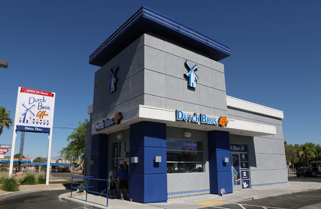 Dutch Bros. coffee shop at 2820 E. Tropicana Ave. is seen on Thursday, June 18, 2015. Dutch Bros. coffee shop, which has a 24-hour drive-thru, will officially open to the public on Friday, June 19 ...