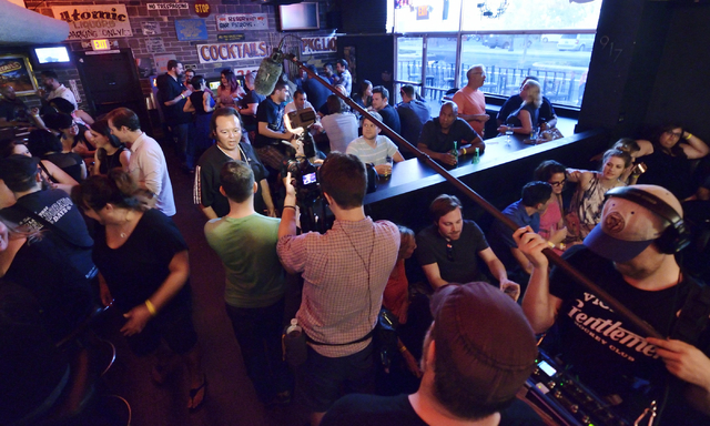 """A camera crew from the Comedy Central show """"Drunk History"""" is shown while interviewing customers at Atomic Liquors at 917 Fremont St. on Saturday, June 27, 2015. (Bill Hughes/Las Vegas R ..."""