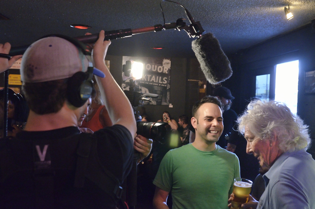 "KJ Howe, right, talks with producer Seth Weitberg during an interview for the Comedy Central show ""Drunk History"" at Atomic Liquors at 917 Fremont St. on Saturday, June 27, 2015. (Bill H ..."