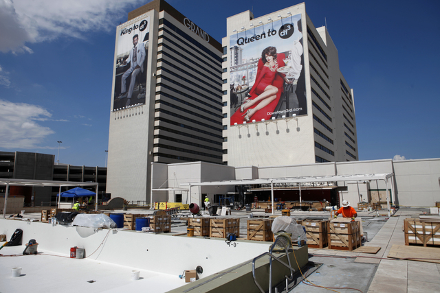 A construction worker works in the pool area at the Downtown Grand in Las Vegas Thursday, Aug. 29, 2013. (John Locher/Las Vegas Review-Journal)
