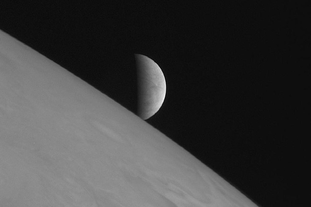 Jupiter and Europa as seen in 2007 by the New Horizons spacecraft (Courtesy/Wikimedia Commons)