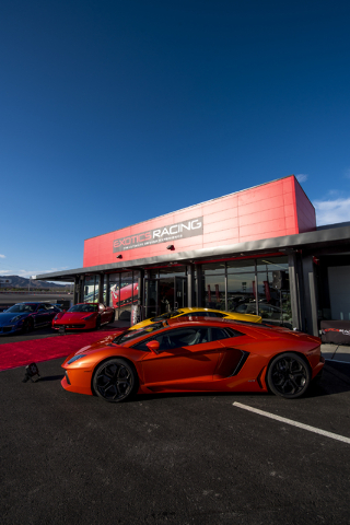Luxury sports cars welcome invited guests to the grand opening of Exotics Racing's new welcome center at Las Vegas Motor Speedway in Las Vegas on Thursday, June 4, 2015. (Joshua Dahl/Las Vegas Rev ...