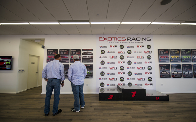 Invited guest tour the new welcome center at Exotics Racing during the grand opening at Las Vegas Motor Speedway in Las Vegas on Thursday, June 4, 2015. (Joshua Dahl/Las Vegas Review-Journal)