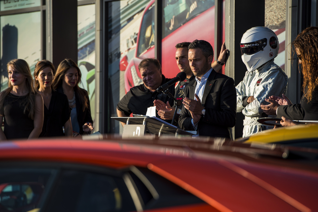 David Perisset, one of the founders of Exotics Racing, speaks at Exotics Racing during the grand opening at Las Vegas Motor Speedway in Las Vegas on June 4, 2015. (Joshua Dahl/Las Vegas Review-Jou ...