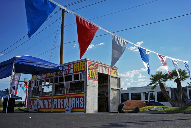 A fireworks stand is seen on Maryland Parkway East Sahara Avenue on Tuesday, June 30, 2015, in Las Vegas. Fireworks can be found for sale leading up to the 4th of July, but afterwards will be ille ...