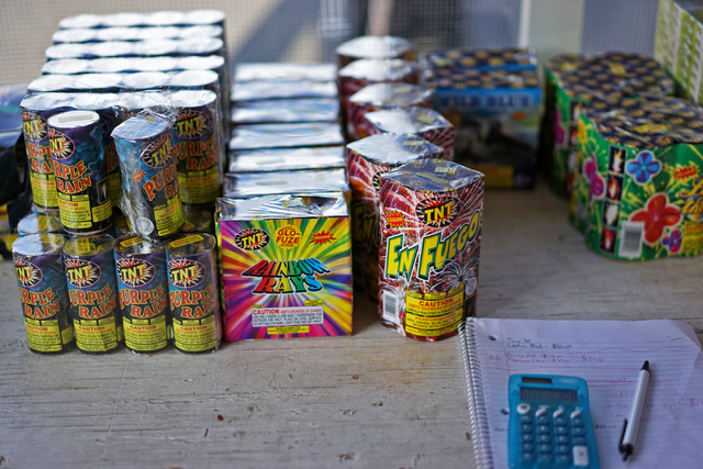 Fireworks are seen in a stand on Maryland Parkway East Sahara Avenue on Tuesday, June 30, 2015, in Las Vegas. Fireworks can be found for sale leading up to the 4th of July, but afterwards will be  ...