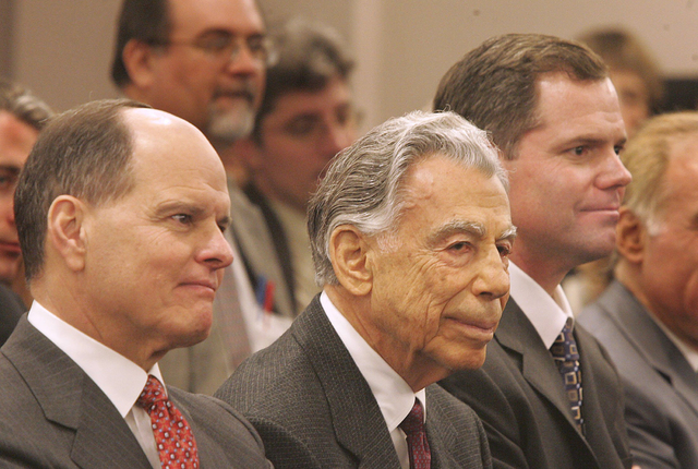 Terry Lanni, left, Kirk Kerkorian and James Murren appear at a Gaming Control Board hearing on Feb. 22, 2005. (Gary Thompson/Las Vegas Review-Journal file)