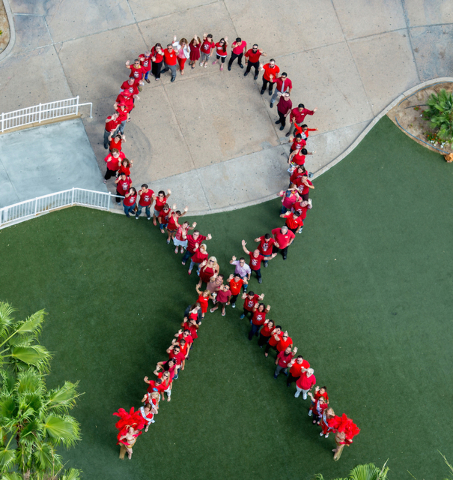Supporters of Golden Rainbow came together at the new Tropicana Las Vegas on June 10, 2015, to kick off this year's Ribbon of Life event by forming a Living Ribbon. Approximately 75 people  ...