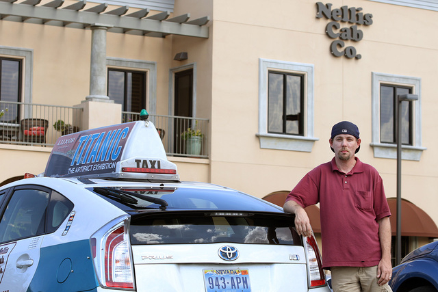 Taxi cab driver Greg Janz stands near a cab at Nellis Cab Co. headquarters, located at 5490 Cameron St., Tuesday, May 26, 2015, in Las Vegas. Last April, Janz turned in a media case that was left  ...