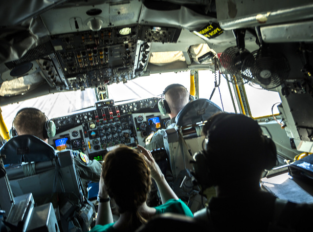 Pilot Capt. Gary Smith,left, and copilot 1st L. Ryan Merrifield during take off of a KC-135 Stratotanker at Nellis Air Force Base on Wednesday, June 10, 2015. The squad from MacDill AFB participat ...