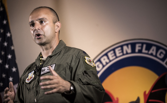 Lt. Col Cameron Dadgar with the 549th Combat Training Squadron speaks during a press conference  at Nellis Air Force Base on Wednesday, June 10,2015. Nellis is hosting Green Flag-West exercises th ...