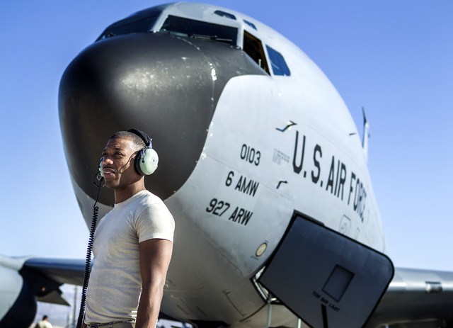 Ssgt Keith Green from the 91st Air Refueling Squadron stands in front of a KC-135 Stratotanker at Nellis Air Force Base on Wednesday, June 10, 2015. The squad from MacDill AFB participated in Gree ...