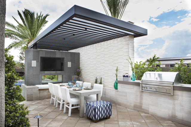 Barbeque and outdoor dining area in hosts Drew and Jonathan Scott's home., as seen on HGTV's The Property Brothers at Home. (Courtesy, HGTV)