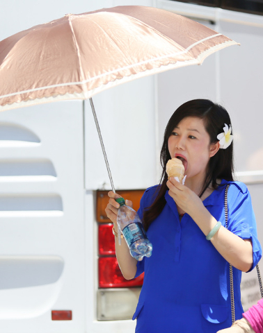 A woman, who declined to give her name, eats an ice cream cone and shields herself from the sun outside a bus near the valet area at the Las Vegas Premium Outlets-North Wednesday, July 2, 2014, in ...