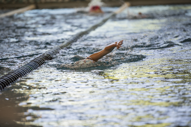 Emma Foster, 11, swims laps during team practice at the Heritage Park Aquatic Complex, 310 S. Racetrack Rd., in Henderson on Thursday, June 11, 2015. (Joshua Dahl/Las Vegas Review-Journal)